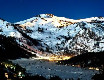 squaw valley mountains at night