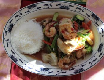 plate of rice and thai food