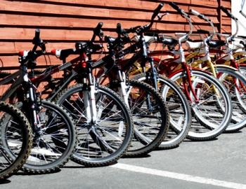 bicycles leaning against each other