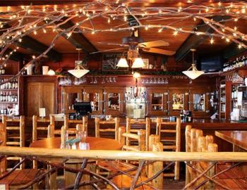 interior of restaurant table and chairs
