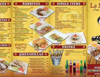 le mexicana menu