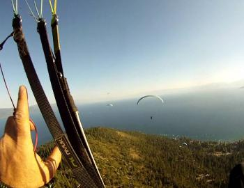 paragliding above lake tahoe