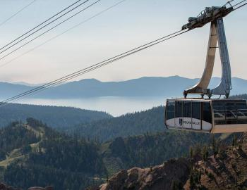aerial tram with a view of lake tahoe