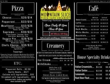 Mountain slice menu
