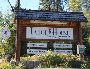 Tahoe House Bakery Sign in front of bakery