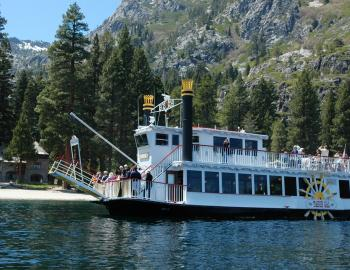 picture of the Tahoe gal boat on tahoe waters