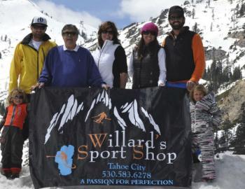 people standing with willard sports logo