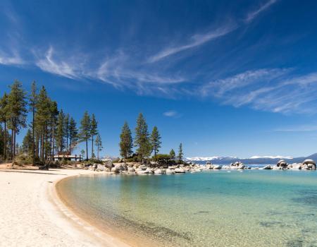 beach view with calm lake