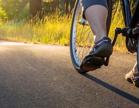 bike tire from bike on riding on bike trail