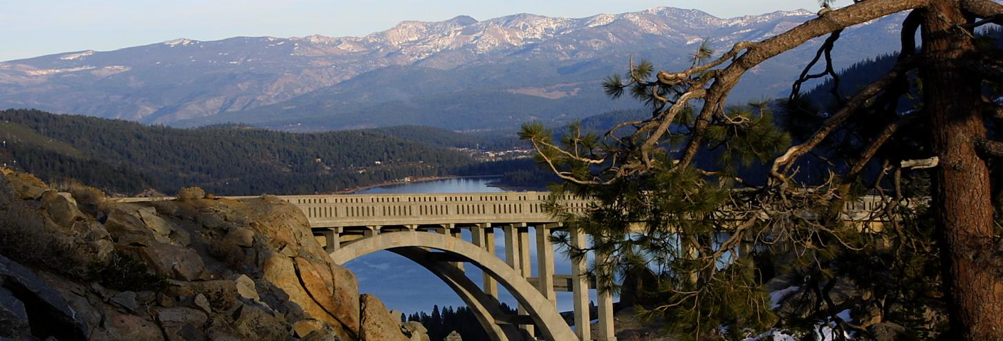 large bridge with donner lake in the background