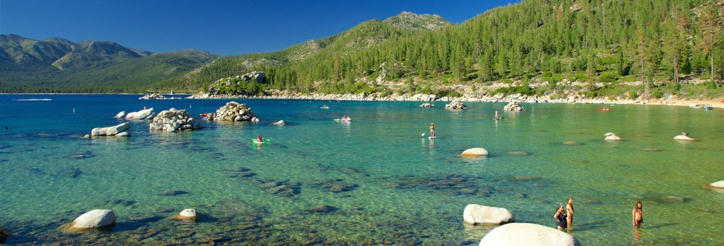 Shallow waters of tahoe, calm shallow waters with boulders