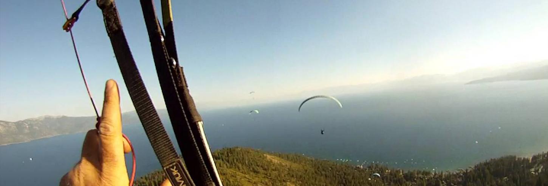 paragliding above lake tahoe