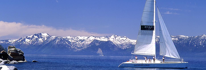 large catamaran on lake tahoe