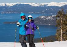 couple skiing at lake tahoe